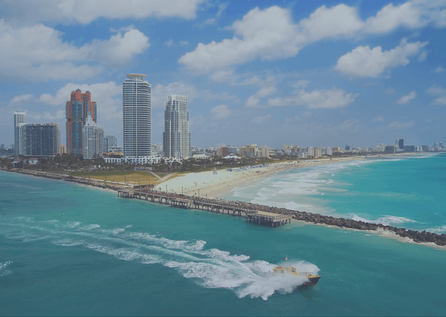 A panoramic view of a Miami beach