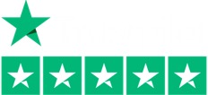 Trustpilot logo and five green stars