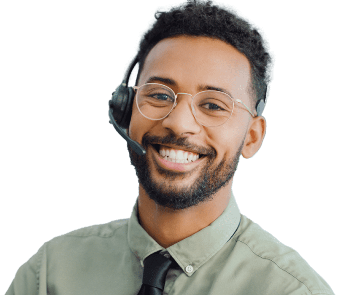 a smiling receptionist wearing headphones